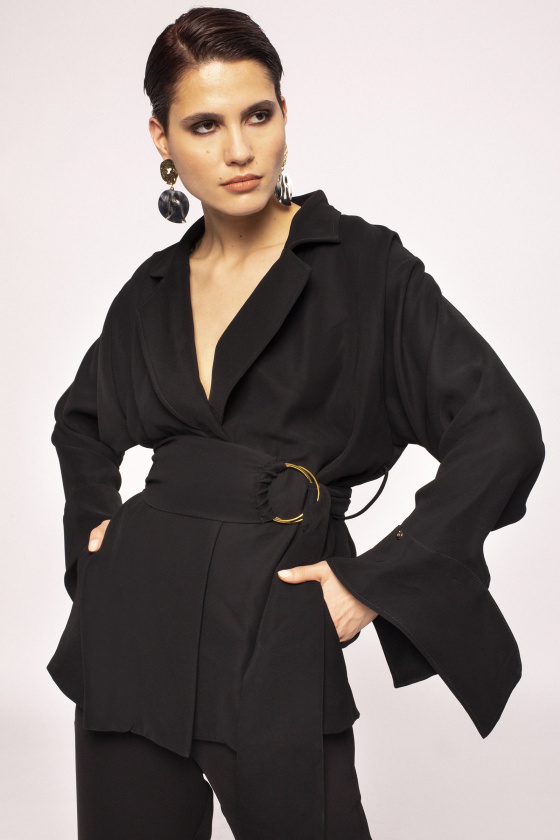 Waist detail wrap jacket