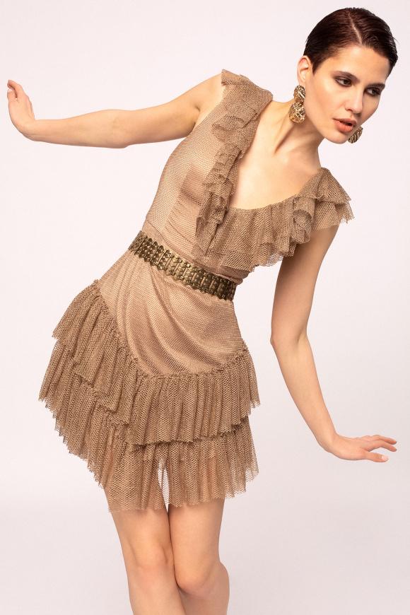 Ruffle applique v-neck mini dress
