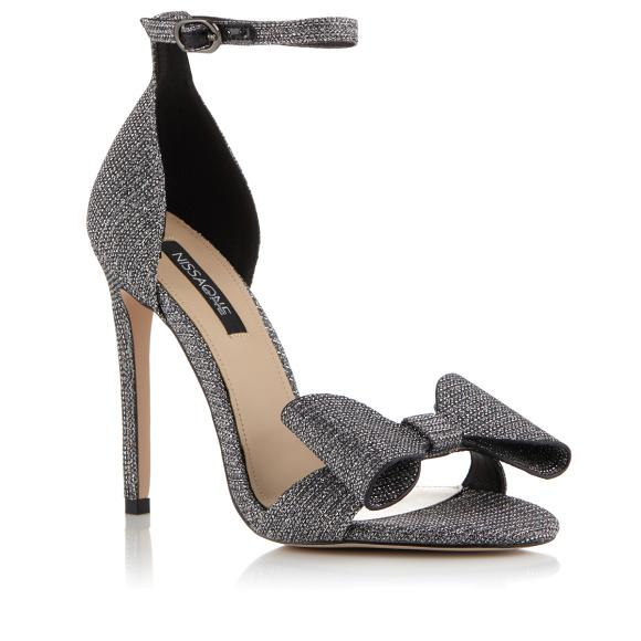 Silver-tone glitter finish sandals