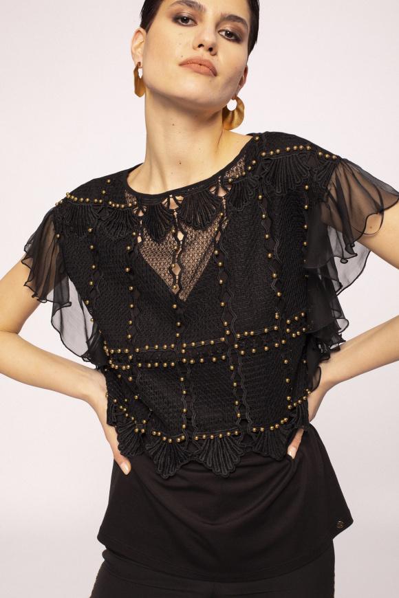 Metallic details lace top