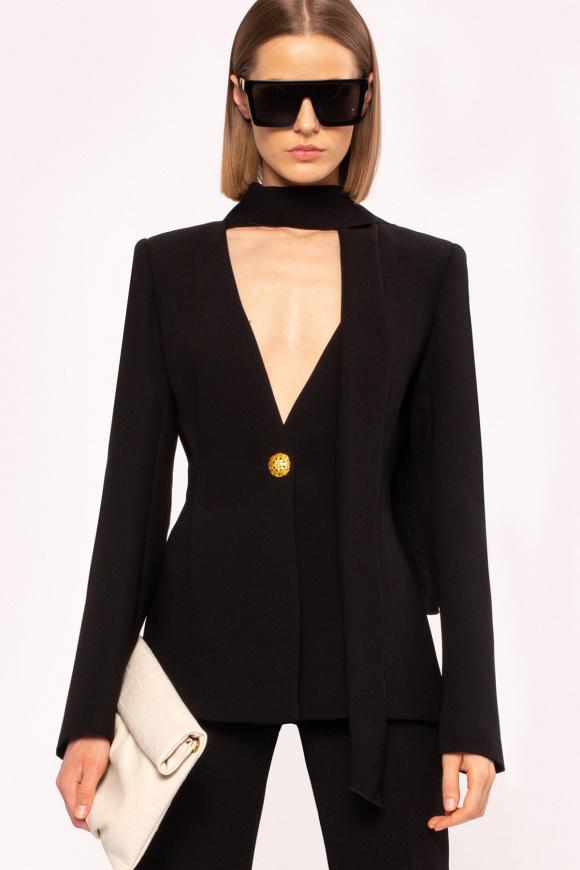 Draped neck-tie fitted blazer