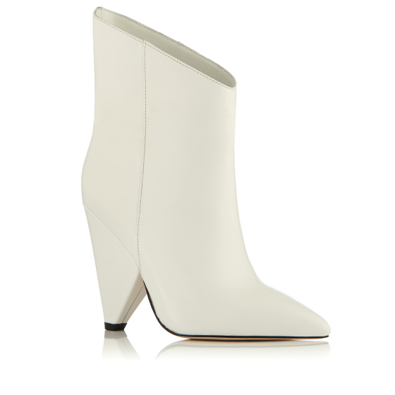 Detachable detail leather ankle boots