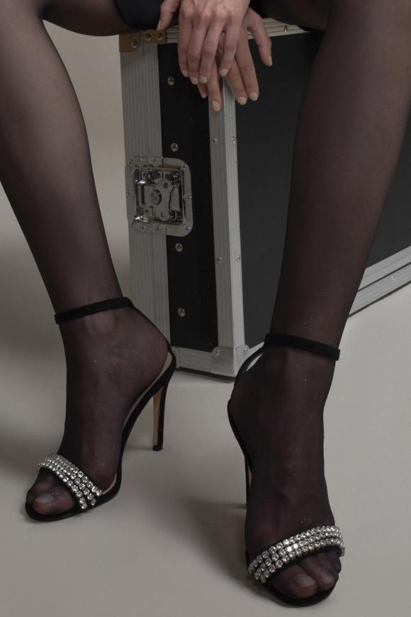 Crystal embellished suede sandals