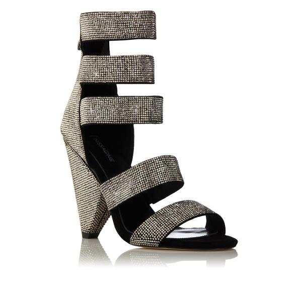Crystal embellished multi-strap sandals
