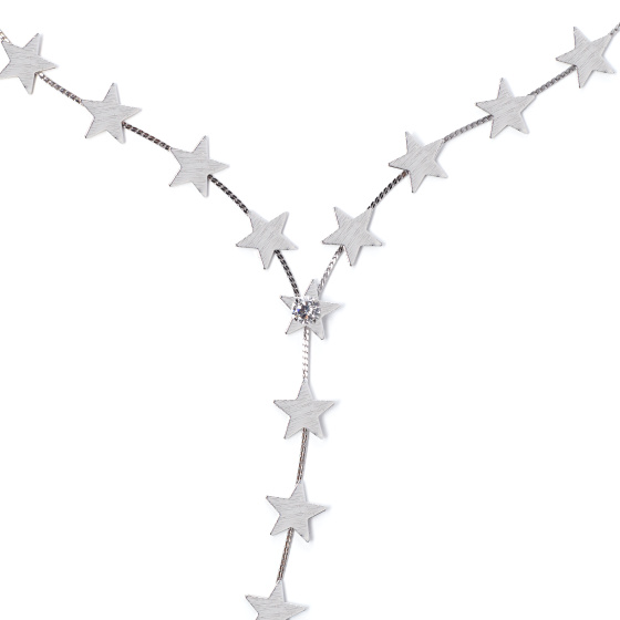 Textured silver necklace with stars
