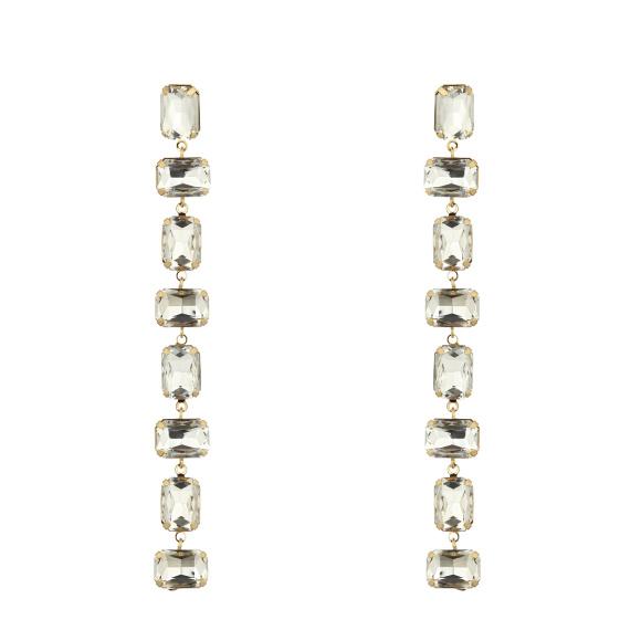 Crystal strand drop earrings