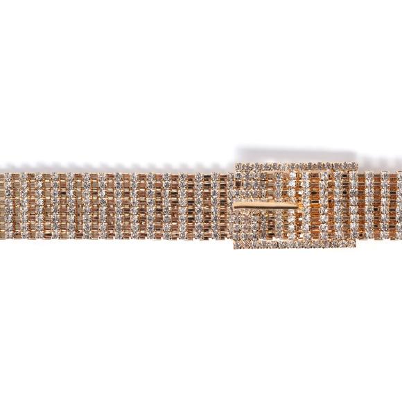 Adjustable crystal embellished mesh belt