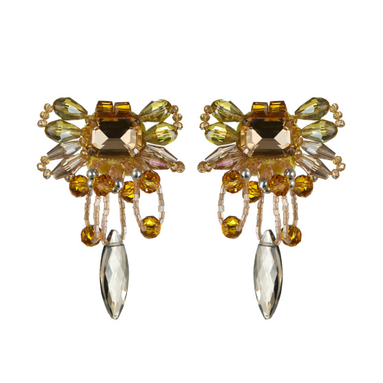 Clip earrings with inlaid crystals