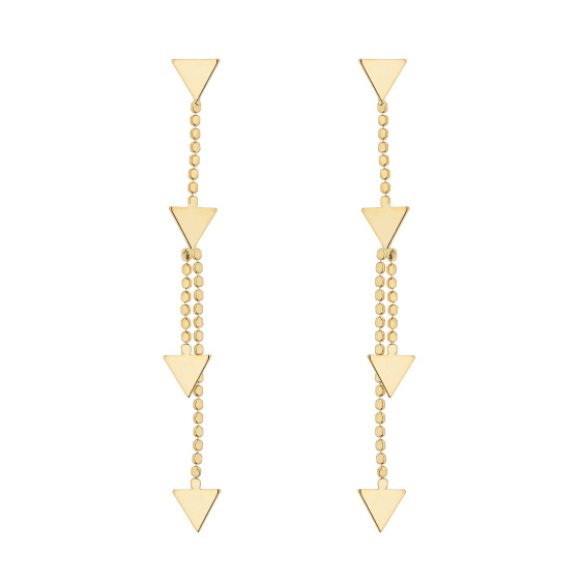 Gold triangle-drop earrings