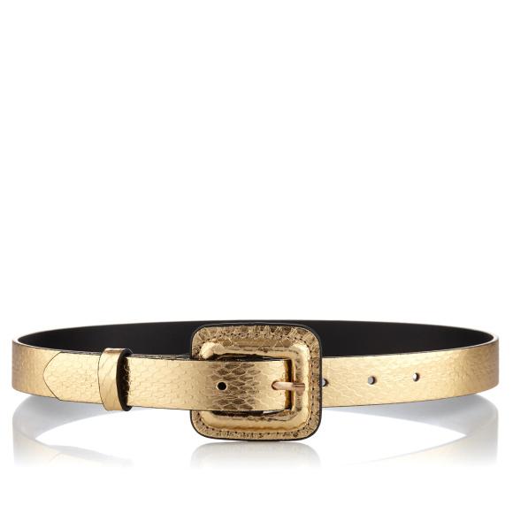 Metallic effect leather belt