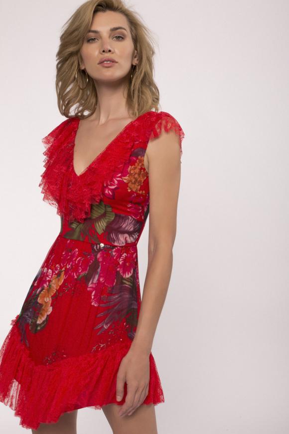 Lace details mini silk dress