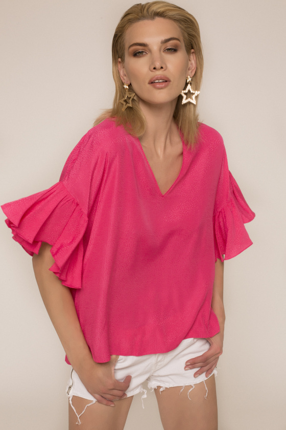 Ruffled sleeve viscose top