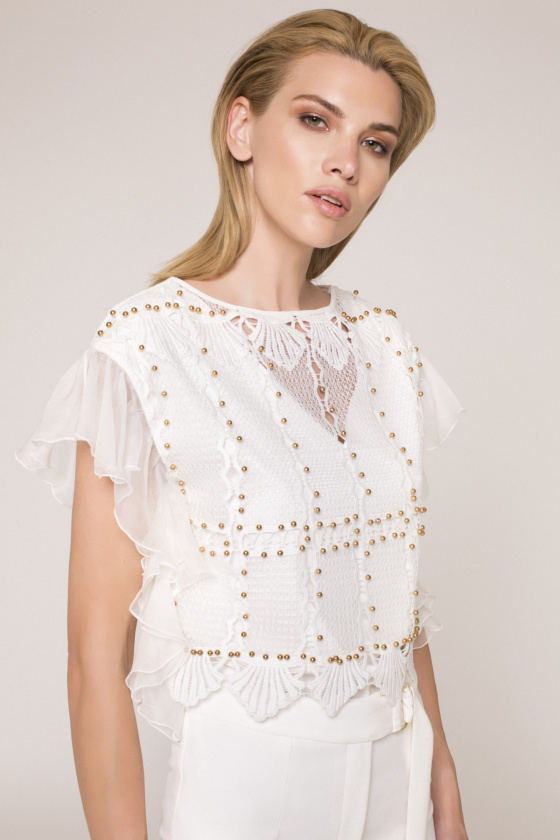 Metallic details lace top