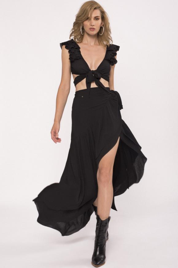 Asymmetric wrap viscose skirt