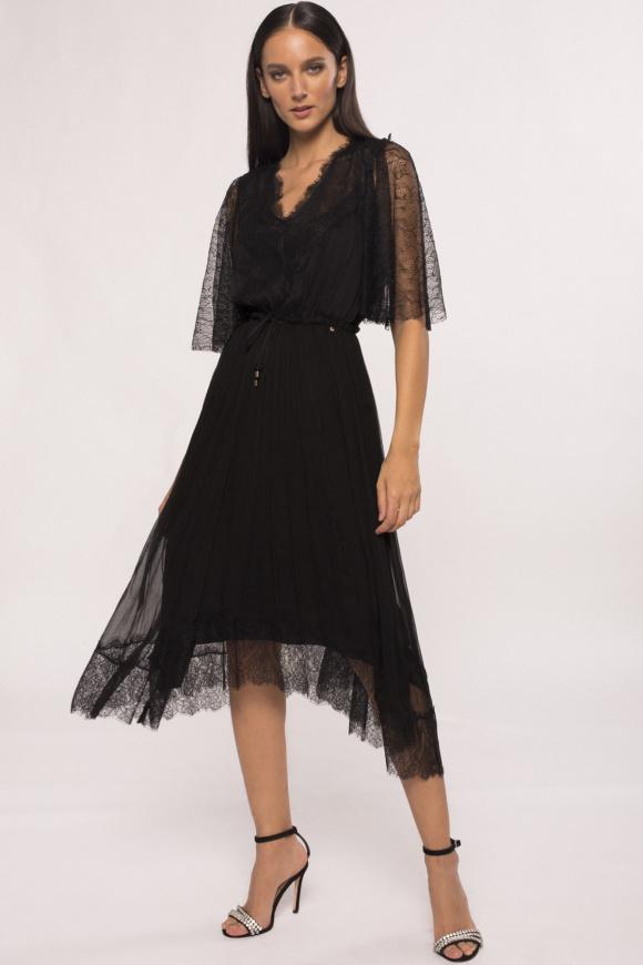 Lace details silk dress