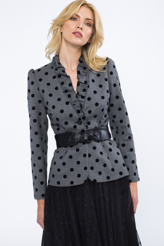 Polka dots fitted blazer