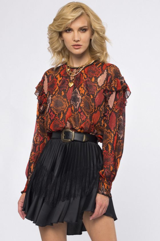 Snake-print ruffled top