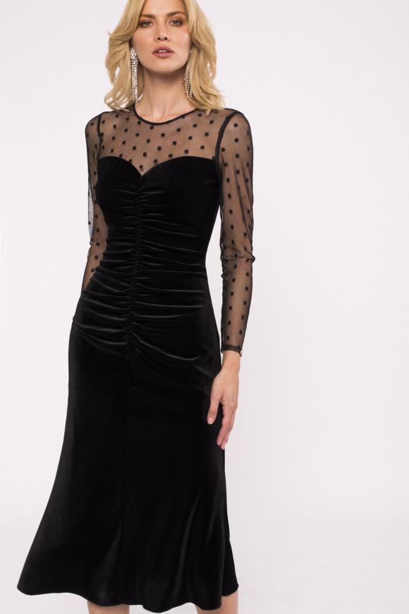 Draped velvet midi dress