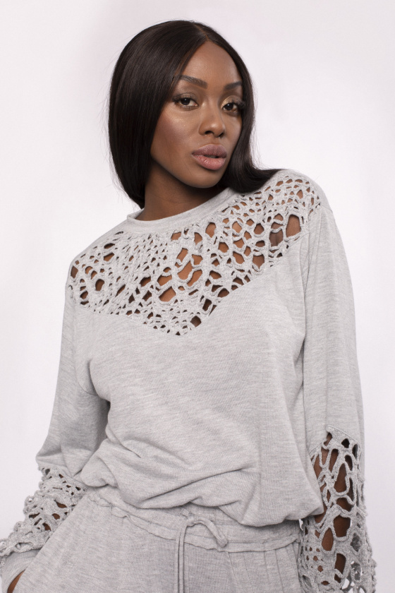 Laser cuts viscose top