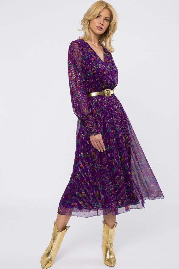 Golden thread silk dress