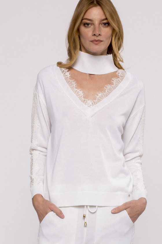 Lace-trimmed knit top