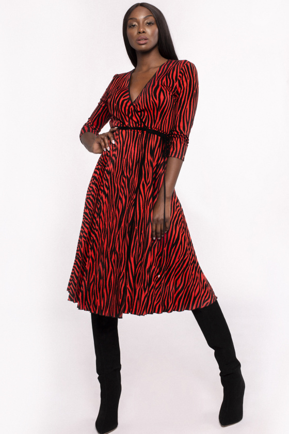 Zebra print wrapped dress