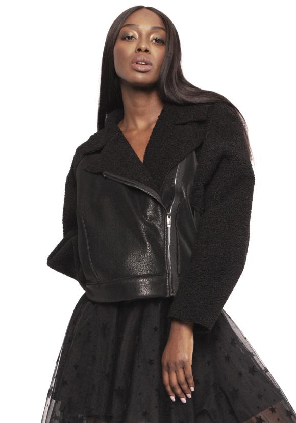 Faux-fur biker jacket