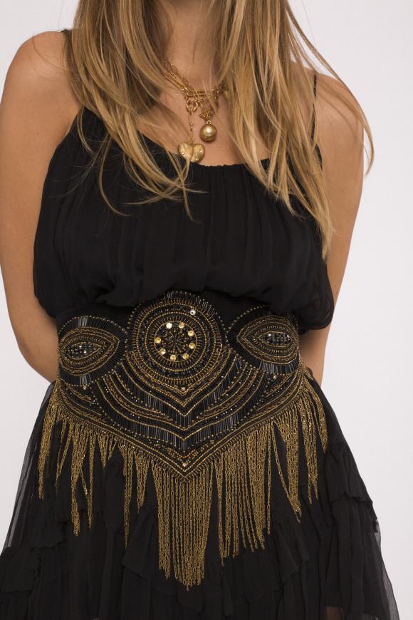 Golden fringed velvet belt