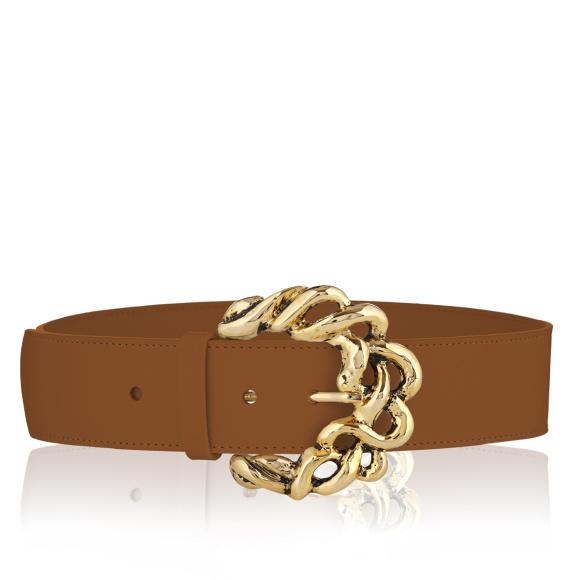 Metallic buckle leather belt