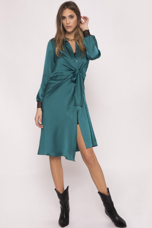 Lace-trimmed satin dress