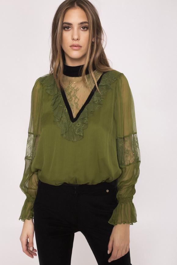 Lace insert silk top