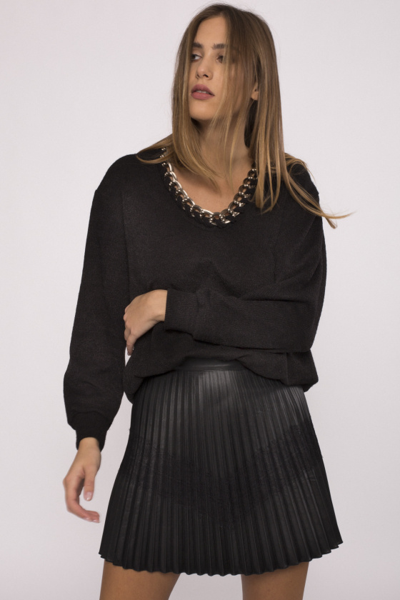 Pleated faux leather skirt