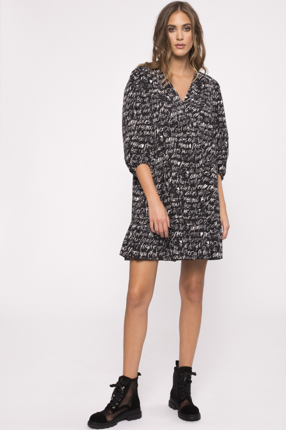 Printed cotton-poplin dress