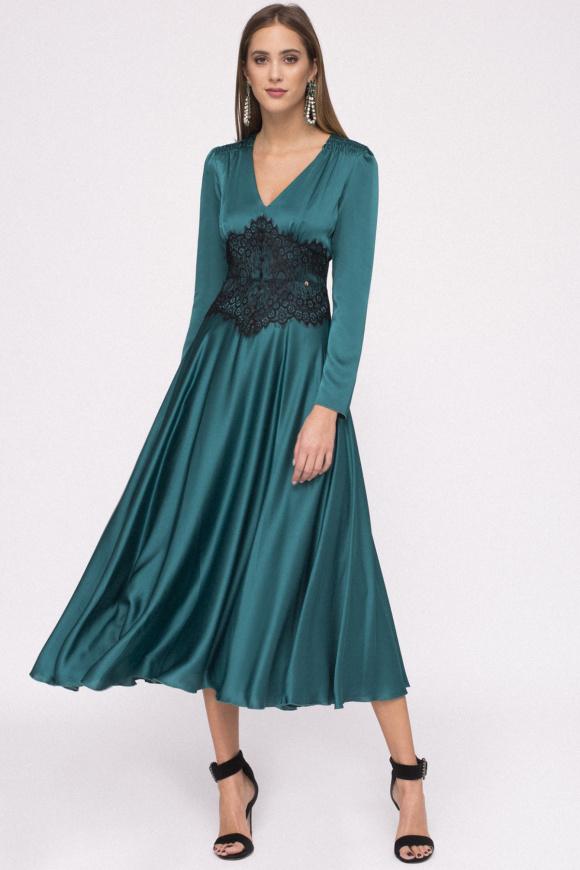 Corset detail satin dress
