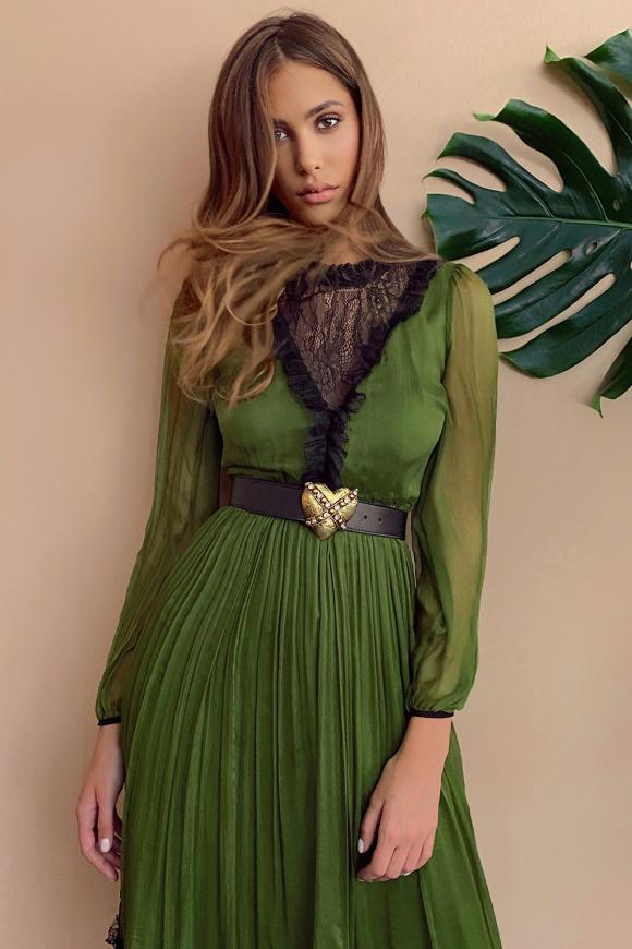 Lace trim silk dress