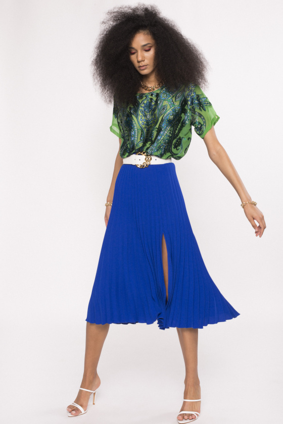 Side split pleated skirt