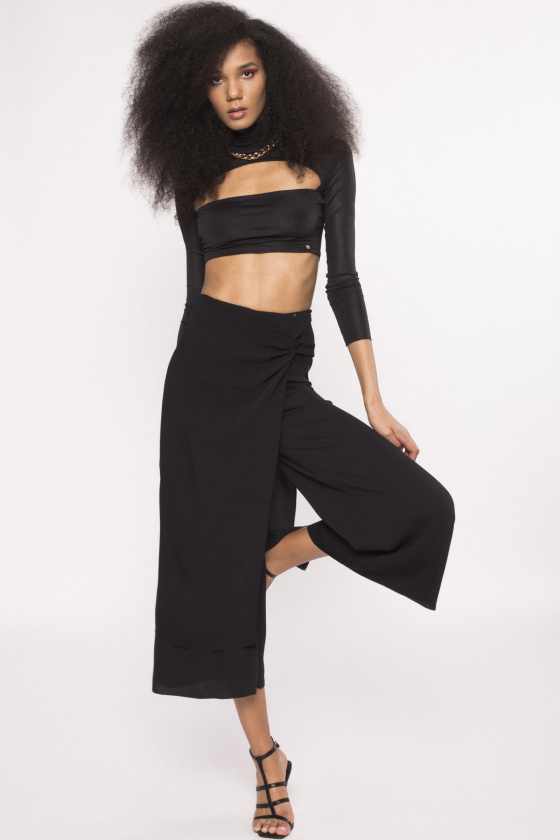Culottes pants with overlay skirt