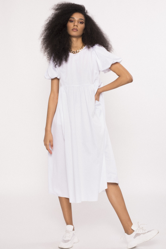 Side pockets poplin dress