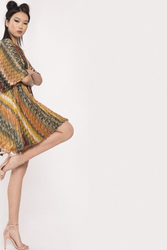 Golden thread pleated dress