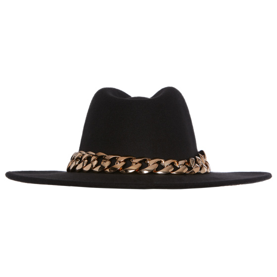 Chain embellished hat