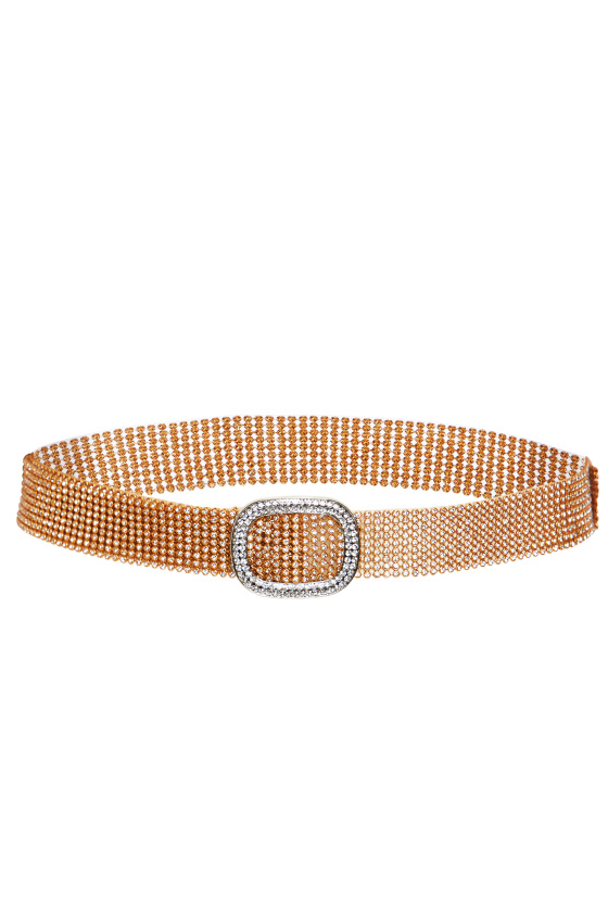 Adjustable crystal embellished mesh belt