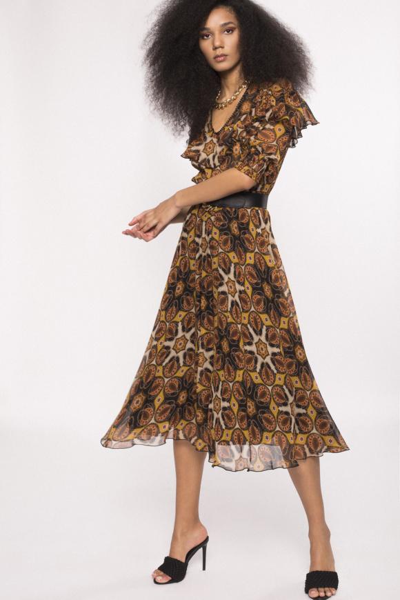 Ruffled viscose dress