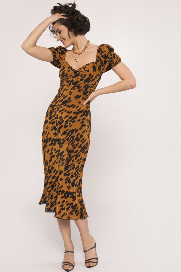 Puff sleeves viscose dress