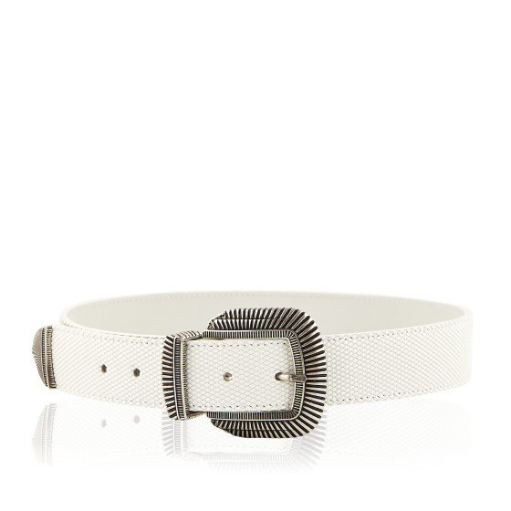 Metallic buckle leather belt