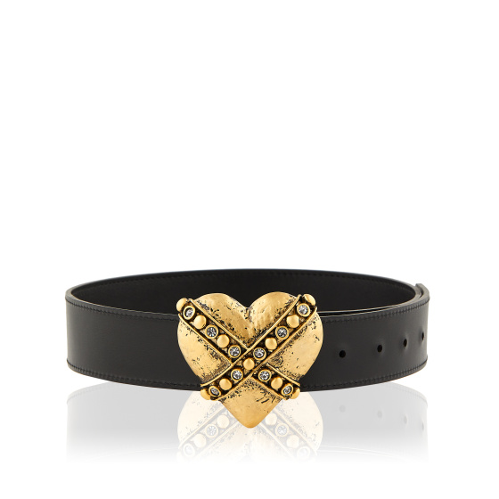 Heart-buckle leather belt