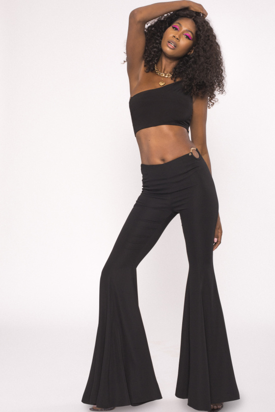 Cut-out flare pants