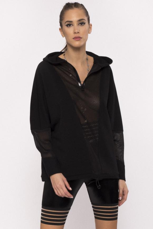 Mesh insert cotton hoodie