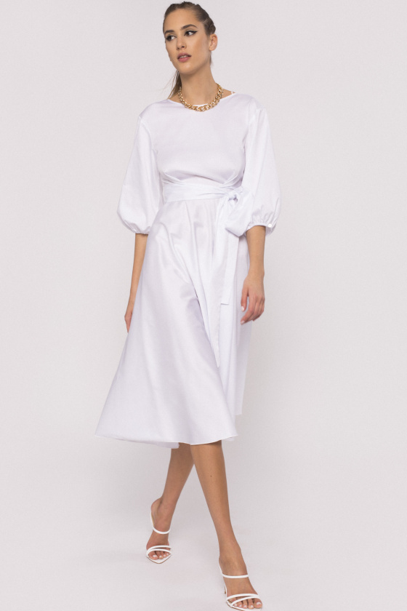 Puff sleeve poplin dress