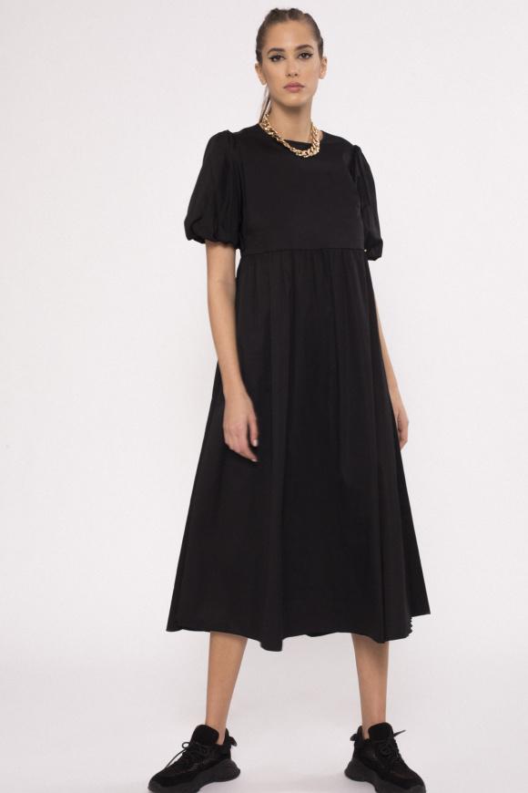 Side pockets poplin dress