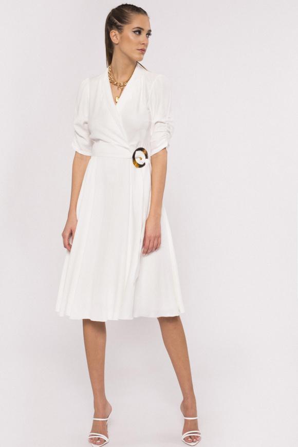 Belted viscose dress